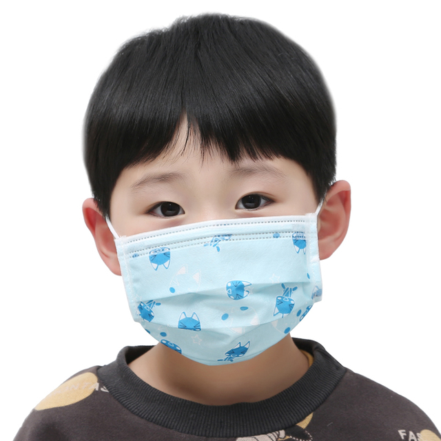 50Pcs 3-layers Disposable Elastic Mouth Soft Breathable Blue Soft Breathable Flu Hygiene Child Kids Face Mask Dropshipping