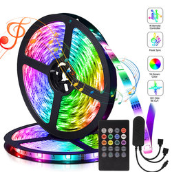 Flexible Neon LED Bluetooth Lights for Room Bedroom Decoration 5m LED Strip Dimmable 12V 5050 RGB Tape Music Sync Color Changing