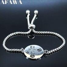 2021 moda el me rabo em beso aço inoxidável corrente pulseira feminina cor prata espanhol amor pulseira joyas b18607