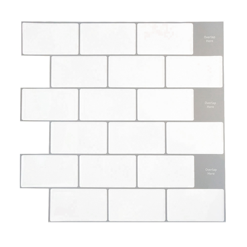 3d Self Adhesive Mosaic Wall Tile Sticker White Brick Style Wall Sticker Home Kitchen Decoration Wall Stickers Aliexpress