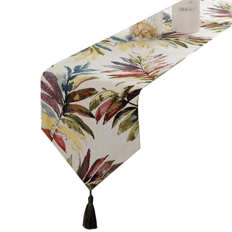 Multi Color Leaves Table Runner With Tassels For Dining Table Decoration 13x87in