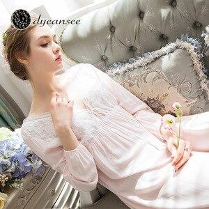 Image 3 - Dyeansee Vintage blanc longue chemise de nuit femmes robes de nuit princesse maison robe coton chemise de nuit col en v à manches longues vêtements de maison