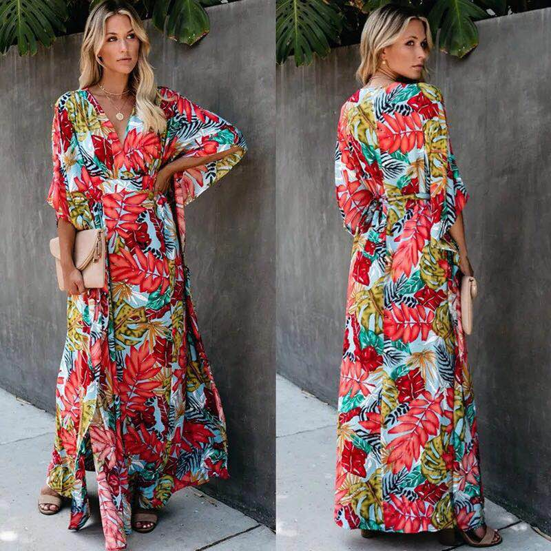 2020 Women Swimsuit Cover Up Sleeve Kaftan Beach Tunic Dress Robe De Plage Cotton Pareo Women Bikini Cover Up Sarong Beachwear
