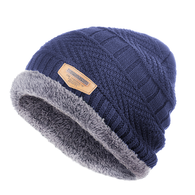 Men's winter Fashion Knitted Black Fall Hat 5