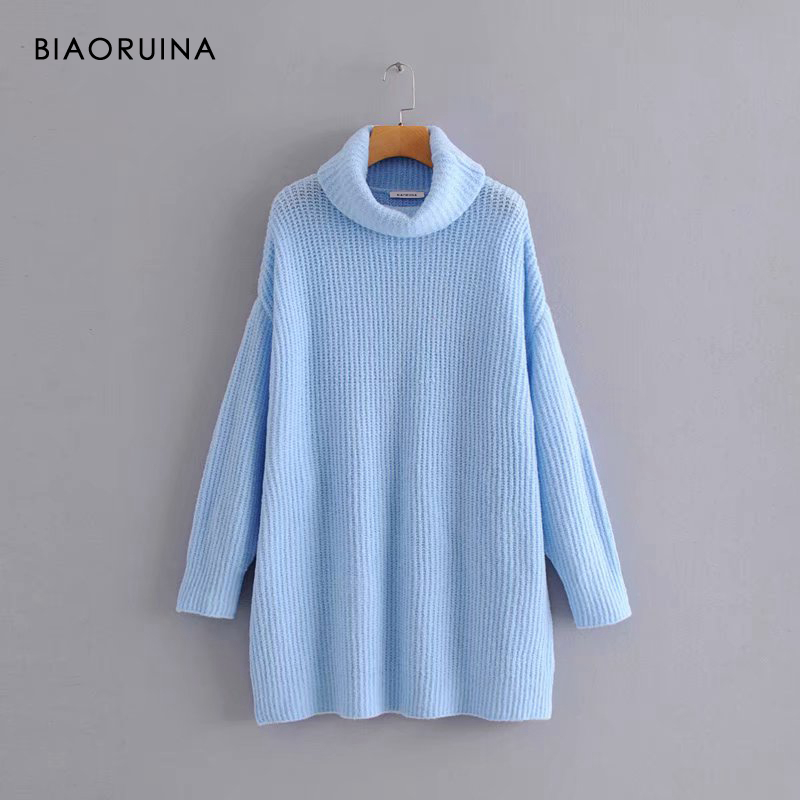 REJINAPYO 15 Color Women Fashion Solid Casual Knitted Sweater Female Turtleneck Oversized Pullover Ladies Elegant Loose Sweater 13