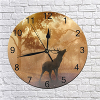 25CM Wall Decor Clocks Deer Nueral Digital Dial Mute No Ticking Sound Battery Operated Clocks for Children's Bedroom