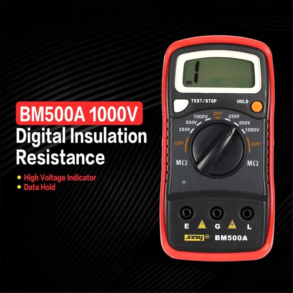 BM500A Digital Megger Multimeter Voltmeter 1000V Auto Range Insulation Resistance Ohm Meter Tester Megohmmeter LED Indication