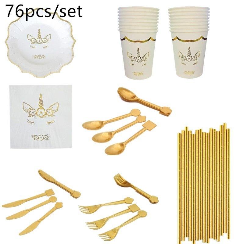 76 pièces licorne fête vaisselle jetable assiettes en papier tasses serviettes bébé douche filles faveur fournitures fête d'anniversaire vaisselle ensemble