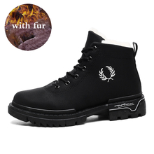 Boots Men Motorcycle-Boots Warm Outdoor Sneakers Fashion Shoes High-Top Winter New Lace-Up