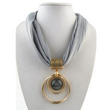 Pingente cachecol circular liga pingente colar poliéster sólido cachecol colar para mulher
