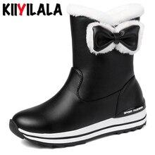 Kiiyilala Zipper Butterfly-knot Snow Boots Women Booties Flat Heels Round Toe Warm Plush Woman Ankle Winter Platform Shoes