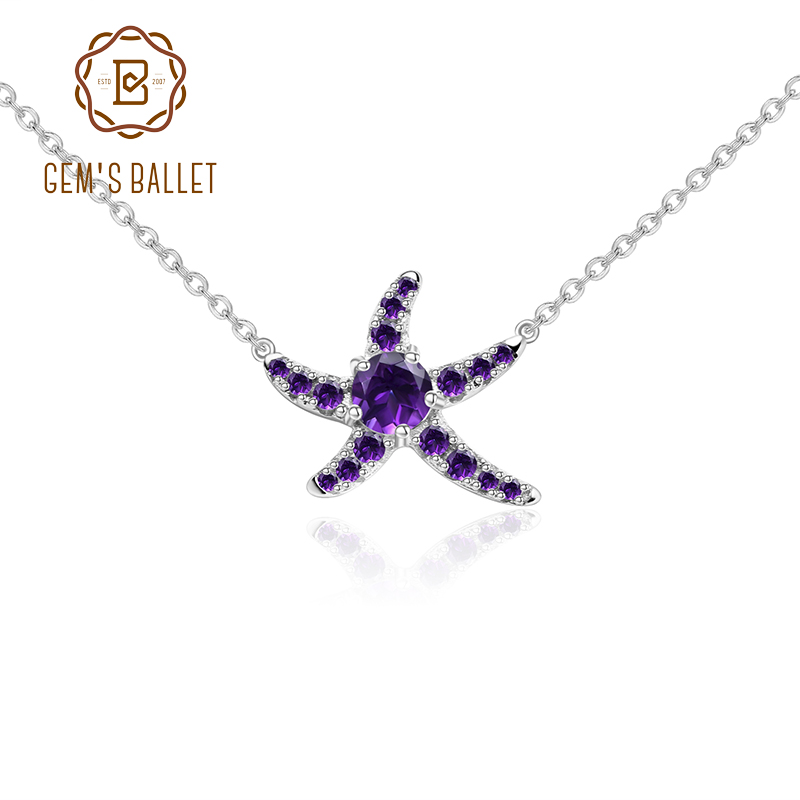 GEM'S BALLET 0.28Ct Natural Amethyst Gemstone Pendant Starfish Shape Necklace 925 Sterling Silver Elegant Fine Jewelry For Women