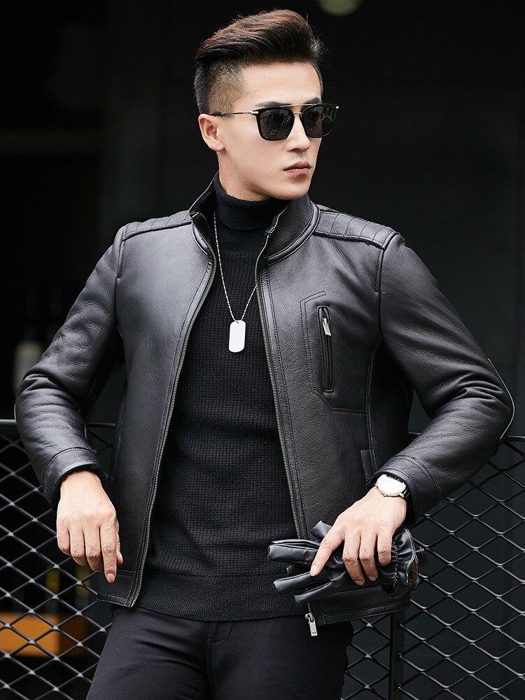 Shearling Jacket Men's Sheepskin Coat Natural Fur Genuine Leather Jacket Men Short Real Wool Deri Mont Erkek 1770 KJ1511
