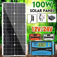 Solar Panel 100W Dual USB Power Bank Board with Car Charger 30A USB Solar Panel Regulator Charger Controller for Outdoor Camping