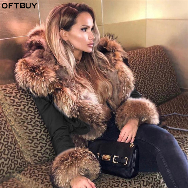 OFTBUY 2019 Winter Jacket Women Long Parka Real Fox Fur Coat Natural Raccoon Fur Collar Hood Thick Warm Streetwear Parkas New 1