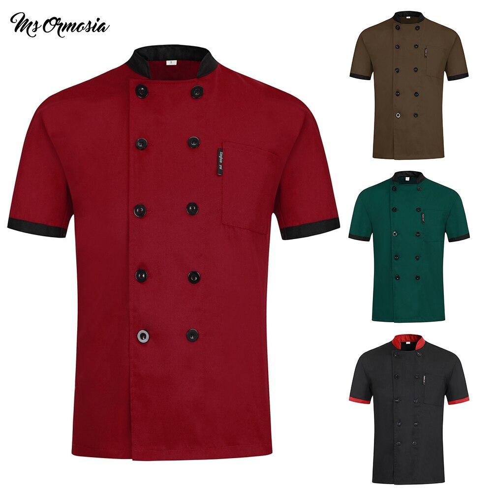 Double Breasted Hotel Restaurant Chef Uniform Kitchen Workwear Short Sleeve Chef's Jacket Dining Jacket Restaurant Cooking Shirt