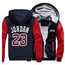 Мужская куртка с буквенным принтом Jordan 23, зимний толстый спортивный костюм реглан, новая модная уличная одежда, теплые пальто, мужские топы, ...