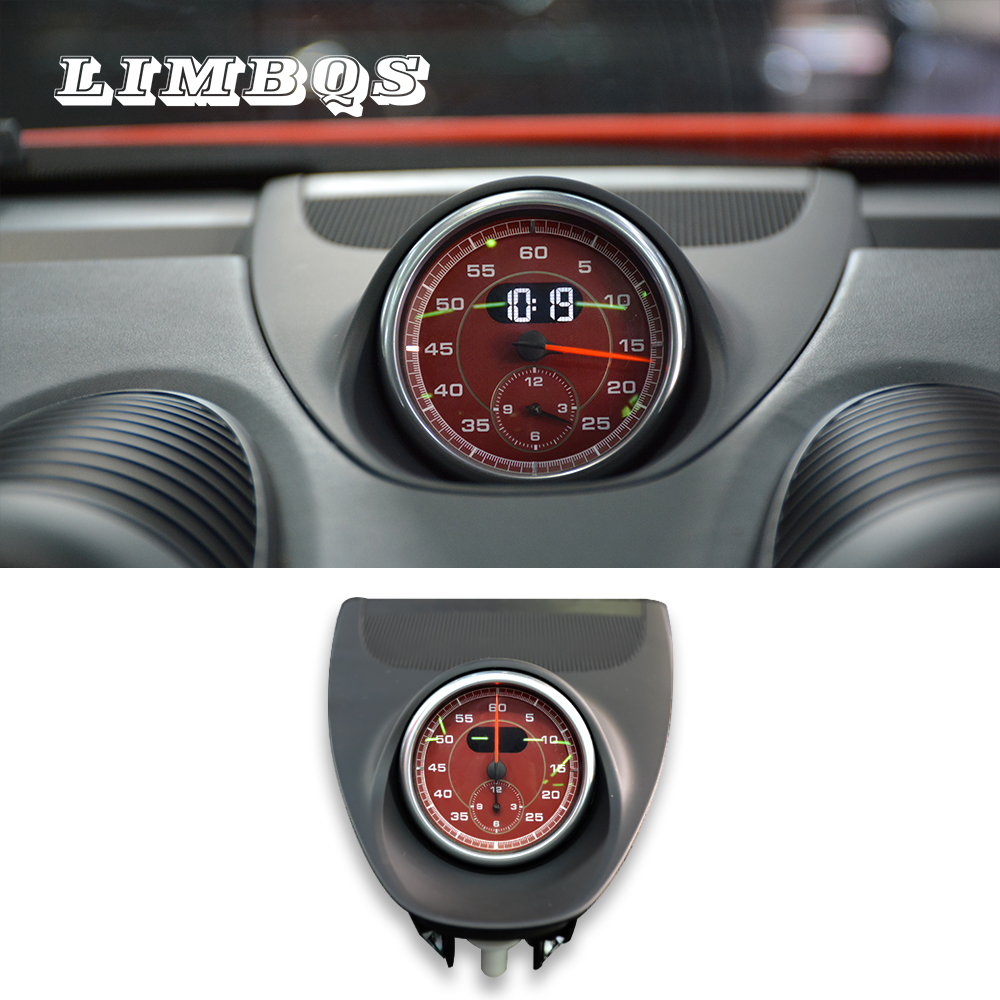 Stopwatch Compass Central Console Cover For  Porsche 718 2016-2019 Dashboard Center Clock Compass Time Electronic Meter Clock