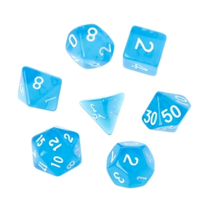 7Pcs Clear Polyhedral Game Dice For Dragon Pathfinder D20 D12 2xD10 D8 D6 D4
