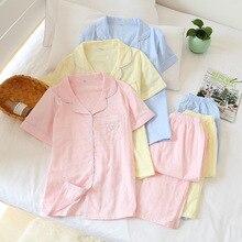 Pijamas de gasa de algodón para mujer, 100% de verano, pantalones de manga corta, conjuntos de pijamas coreanos, ropa de dormir para mujer, gran oferta