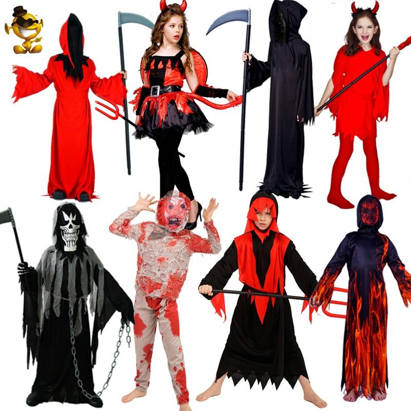Kids Devil&Zombie&Grim Reaper Costume Masquerade  Purim &Halloween Boy&Girl Horror Red Devil Robe Cosplay Child Costumes