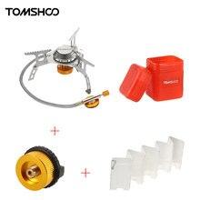 TOMSHOO Outdoor kuchenka kempingowa zestaw Ultralight Mini składana kuchenka gazowa z plecakiem w/szyba gazowa Adapter palnik gazowy