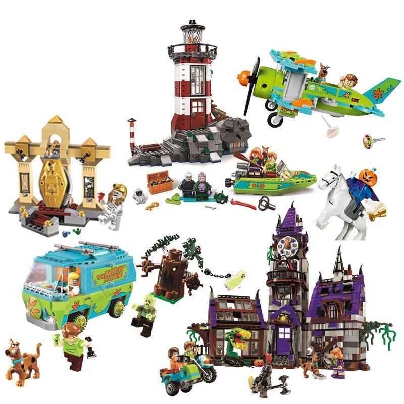 Legoinglys Scooby-doo Múmia Museu Stery Modelo Bloco de Construção Kits Scooby Doo Cão Blocos Brinquedos Compatíveis Com Moc 75904