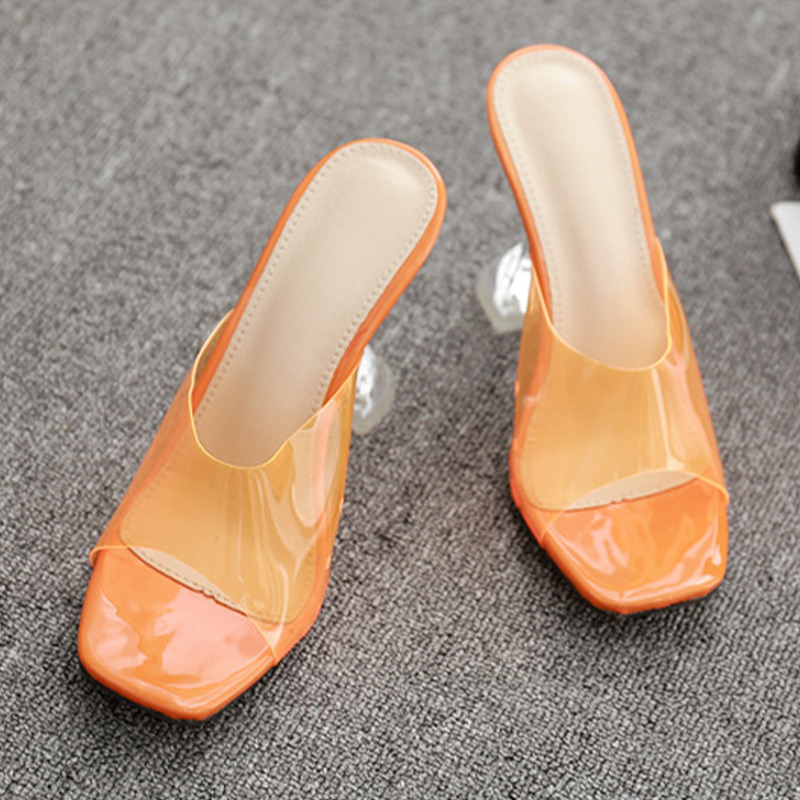 Women Sexy Sandals High Heels Shoes Ladies Fashion Slippers Plus Size Square Toe Transparent Pumps New Female Summer Comfort 5