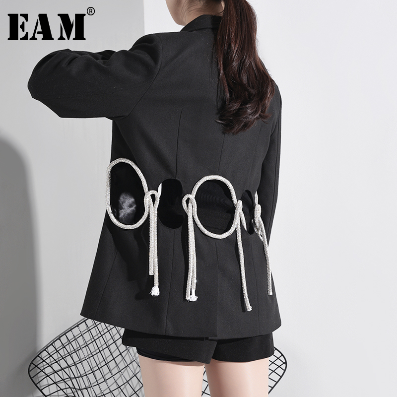 [EAM]  Women Black Hollow Out Shining Short Blazer New Lapel Long Sleeve Loose Fit  Jacket Fashion Tide Spring Autumn 2020 A782