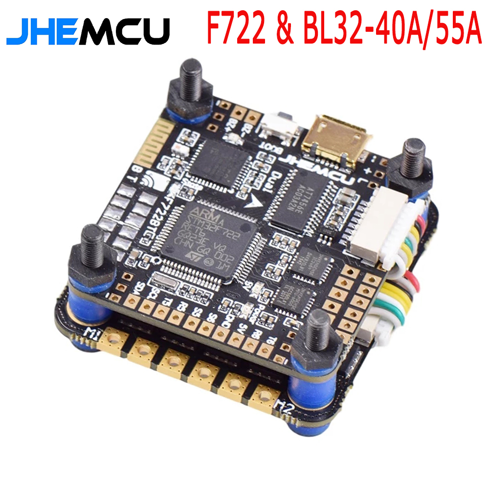 JHEMCU F7BT Stapel 3-6S F722 Dual Gyro 5V/ 8V Bluetooth Flight Controller 40A/55A BLHeli_32 ESC für FPV Luft Einheit 4/6S HD Drohnen