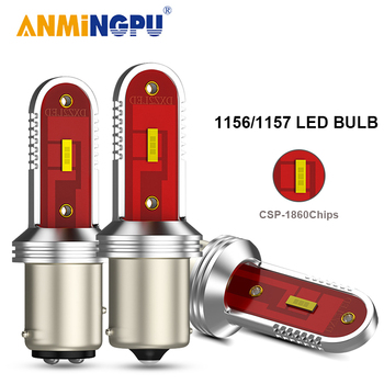 ANMINGPU 1x Signal Lamp Bay15d Led 1157 P21/5W CSP 1860SMD 1156 LED P21W BA15S BAU15S PY21W Canbus Car DRL Turn Signal Lights