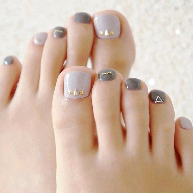 ZD-314 Toenail Finished Product Patch Gray Jump Color Diamond Set Fake Nails Manicure Nail Sticker 24 Piece