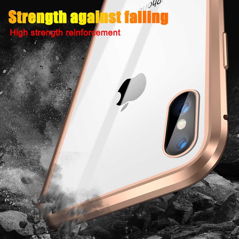 Adsorpsi Magnetik Logam Case untuk iPhone SE 11 Pro XS Max XR Dua Sisi Kaca Magnet Case untuk iPhone 7 8 6 6S Plus X XR Cover