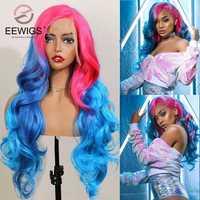 EEWIGS-peluca con malla frontal sintética para mujer postizo degradado resistente al calor, sin pegamento, Color amarillo, Rubio, rosa, Bob corto