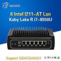 Yanling 6 Lan Mini cortar 8th Gen Kaby Lake R Intel 8550U Quad Core Fanless Firewall PC I7 red Compatibilidad de enrutador I211-AT Lan