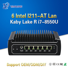 Yanling 6 lans mini cortar 8th gen kaby lago r intel 8550u quad core fanless firewall pc i7 rede roteador suporte I211-AT lan