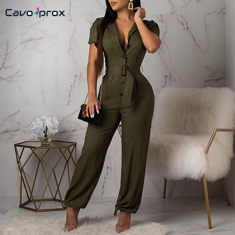 Women Wrap Belt Button Design Short Sleeve Casual Bodycon Jumpsuit Casual Solid Summer Streetwear Fashion Jumpsuits