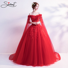 цена на SERMENT Handmade True Rose Rays Shining Fairy Rose New Red Bridal Veil Long Sleeve Free Custom Made Plus Size Lacework Design