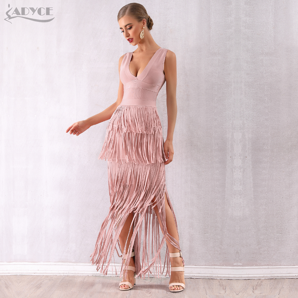Adyce 2020 New Summer Nude Fringe Women Bandage Dress Vestidos Maxi Tassels Club Dress Sexy Deep V Celebrity Evening Party Dress