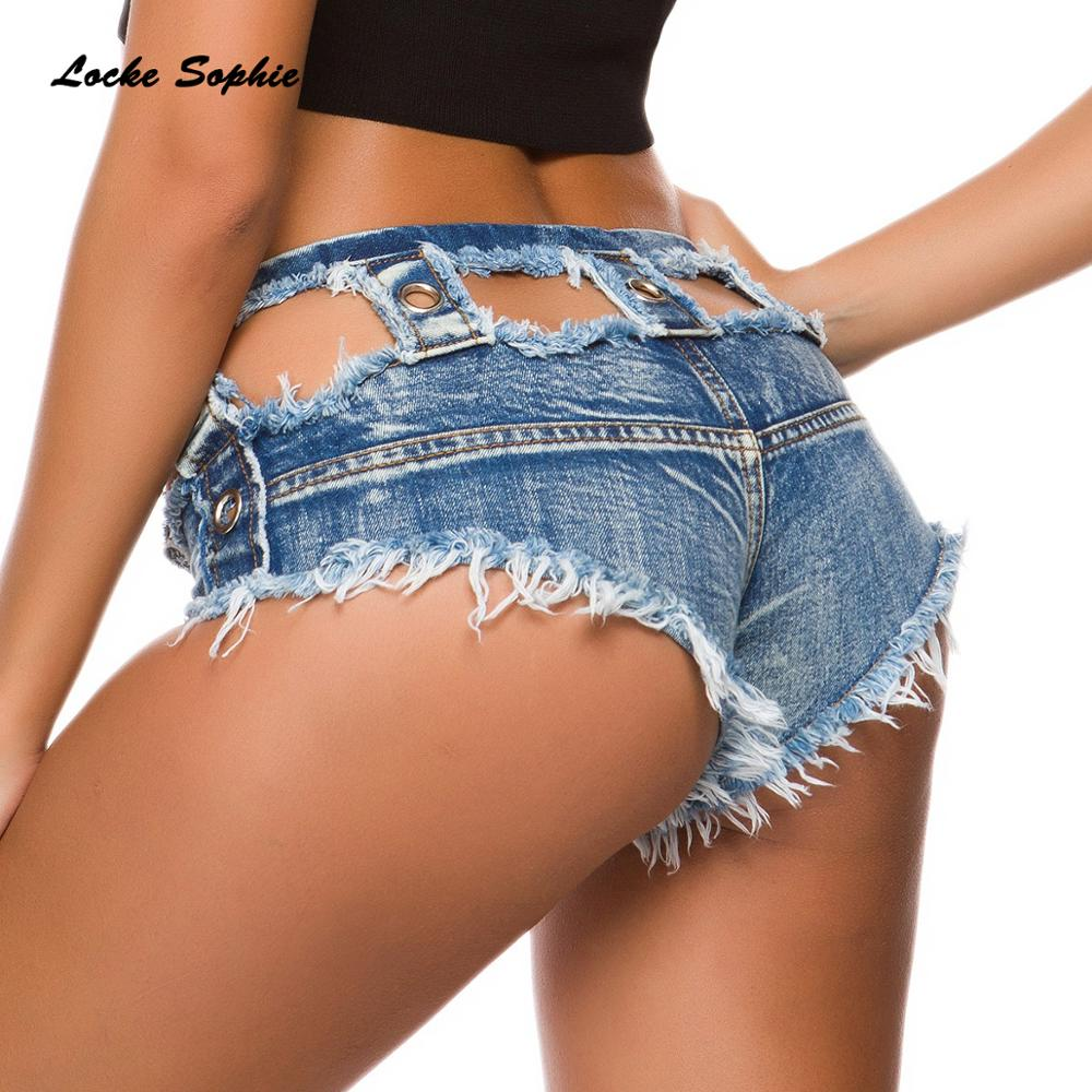 Low Waist Sexy Women's Denim Shorts 2019 Summer Denim Cotton Bandage Broken Hole Splicing Ladies Skinny Sexy Super Short Jeans
