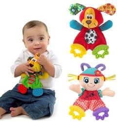 Плюшевая кукла Playmate для новорожденных, детские игрушки с рисунками животных, погремушки с колокольчиками, Детская Игрушка прорезыватель, д...