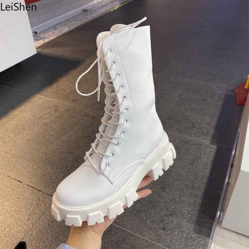 Pasang Kaos Wanita Motor Pergelangan Kaki Sepatu Boot Wedges Wanita Renda Up Platform Semi Kulit Hitam Oxford Sepatu Wanita 2020 Pasang Kaos Mujer
