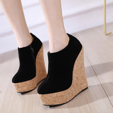 Sexy Party Shoes Women Round Toe wedge boots High Heel wedding Pumps Zapatos Mujer platform shoes for women plus big size LJA938 2016 white womens pumps custom made plus size wedding shoes high heel pumps zapato mujer party evening shoes chaussure femme