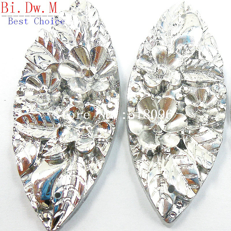 UNIQUE Resin Rhinestones Navette Boat shape 19x48mm Silver Color Sew On Stones and Crystals Strass Crystal Accessories Crafts in Rhinestones from Home Garden