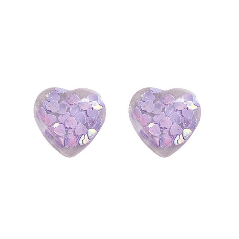 Romantic Purple Sequin Filling Heart Drop Earrings Korean Cute Love Pendent Earrings for Women Girls Lover Kids Ear Jewelry Gift