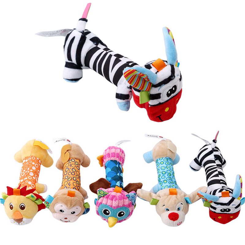 Baby Rattle Toys Animal Hand Bells Plush Toy Baby Music Rattle Toys Kids Educational BB Sound With Mirror