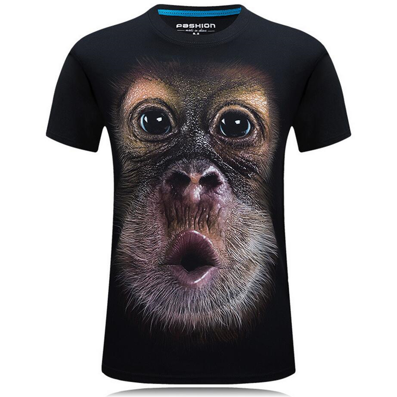 Nice Summer Fashion 3D Funny T Shirts Men Animal Printed Cotton Short Sleeve O Neck T shirts Punk Male Tops Tees Camisetas 7XL - 4