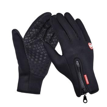 Deportes al aire libre de senderismo de invierno bicicleta guantes de ciclismo para hombres y mujeres Windstopper cuero simulado