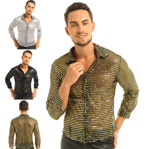 Image 5 - Mens Tuxedo Shirts Shiny Sequins See Through Mesh Long Sleeve Clubwear for Night Party Show Dancing Performance Top Shirt