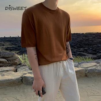 Coreano de punto de cuello redondo Camiseta de hombre de moda de verano Camisetas casuales de los hombres Slim caqui chico Top 2020